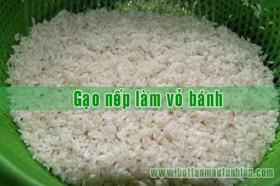gạo nếp làm vỏ bánh